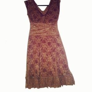 Dresses & Skirts - Brown Lace and Silver Sparkle Dress